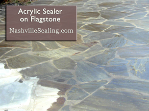 Flagstone with Sealer on a patio, patially sealed flagstone